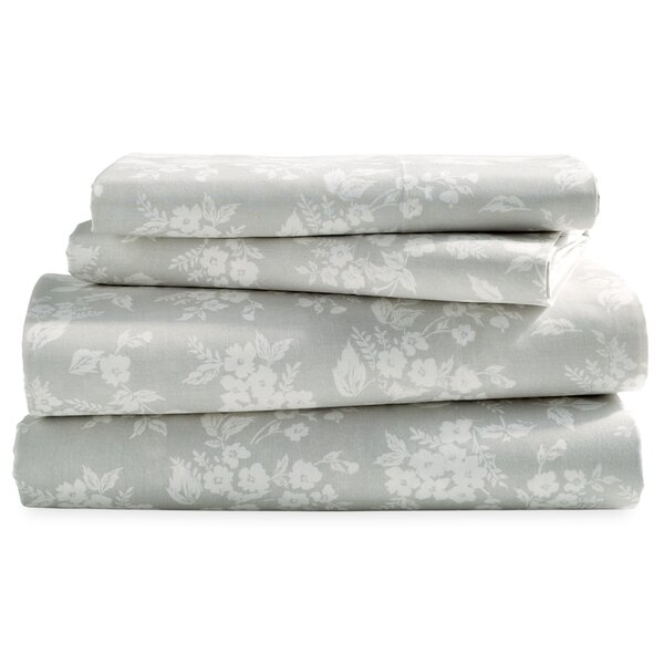 Casandra Washed Floral 200 Thread Count 100% Cotton Sheet Set by One Allium Way